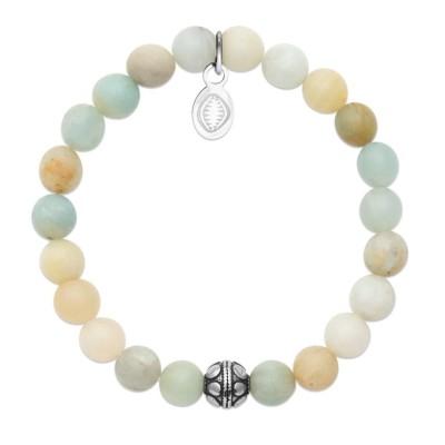Bracelet en pierres naturelles Amazonite et acier pour femme, marque Shark'n Stones Pastel