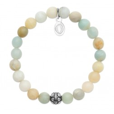 Bracelet pour femme Amazonite et acier - Shark'n Stones Pastel - Lyn&Or Bijoux