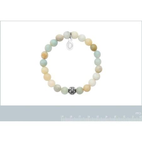Bracelet en pierres naturelles pour femme Amazonite et acier, marque Shark'n Stones Pastel
