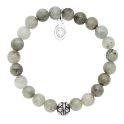 Bracelet pour femme Labradorite et acier - Shark'n Stones Gris - Lyn&Or Bijoux