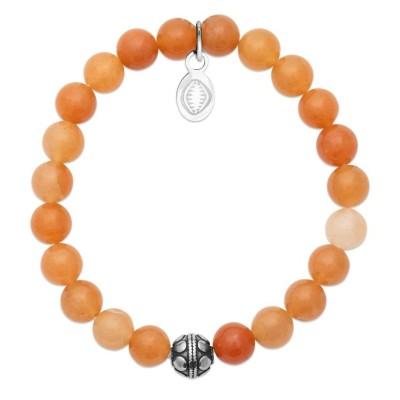 Bracelet en pierres naturelles Aventurine et acier pour femme, marque Shark'n Stones Orange