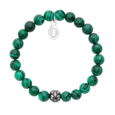 Bracelet en pierres naturelles Malachite et acier pour femme, marque Shark'n Stones Vert