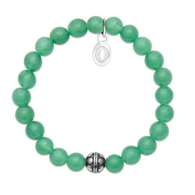 Bracelet en pierres naturelles Aventurine et acier pour femme, marque Shark'n Stones Vert