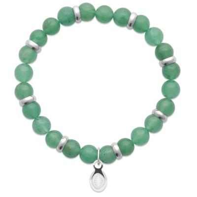 Bracelet en pierres naturelles Aventurine et acier pour homme, marque Shark'n Stones Vert