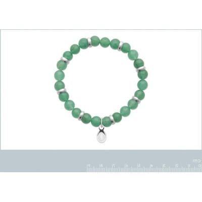 Bracelet en pierres naturelles pour homme Aventurine et acier, marque Shark'n Stones Vert