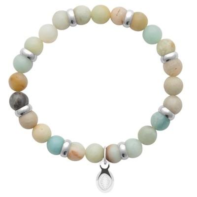 Bracelet en pierres naturelles Amazonite et acier pour homme, marque Shark'n Stones Pastel