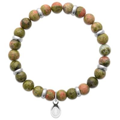 Bracelet en pierres naturelles Unakite et acier pour homme, marque Shark'n Stones Brun