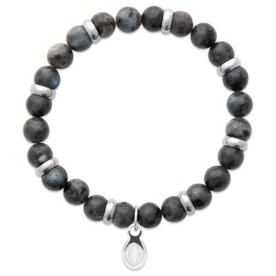 Bracelet en pierres naturelles Labradorite et acier pour homme, marque Shark'n Stones Gris