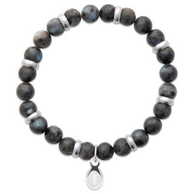 Bracelet pour homme Labradorite et acier - Shark'n Stones Gris - Lyn&Or Bijoux