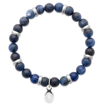 Bracelet en pierres naturelles Jaspe et acier pour homme, marque Shark'n Stones Bleu