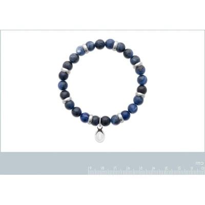 Bracelet en pierres naturelles pour homme Jaspe et acier, marque Shark'n Stones Bleu