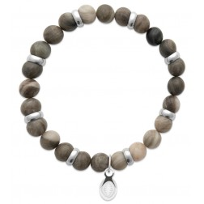 Bracelet en pierres naturelles Jaspe et acier pour homme, marque Shark'n Stones Kaki