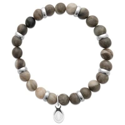 Bracelet pour homme Jaspe et acier - Shark'n Stones Kaki - Lyn&Or Bijoux