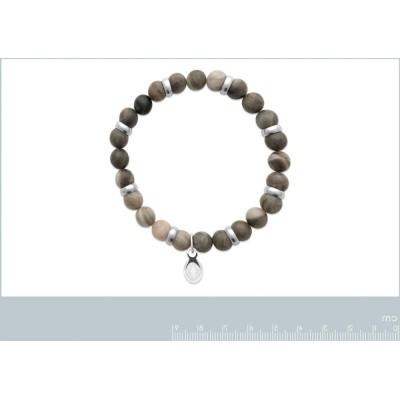 Bracelet en pierres naturelles pour homme Jaspe et acier, marque Shark'n Stones Kaki