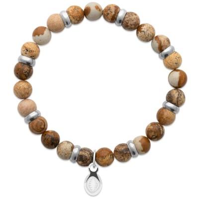 Bracelet en pierres naturelles Jaspe et acier pour homme, marque Shark'n Stones Marron