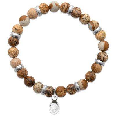 Bracelet pour homme Jaspe et acier - Shark'n Stones Marron - Lyn&Or Bijoux