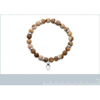 Bracelet en pierres naturelles pour homme Jaspe et acier, marque Shark'n Stones Marron