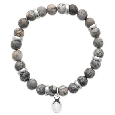 Bracelet en pierres naturelles Jaspe et acier pour homme, marque Shark'n Stones Gris