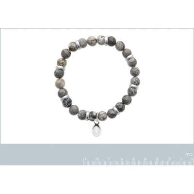 Bracelet en pierres naturelles pour homme Jaspe et acier, marque Shark'n Stones Gris