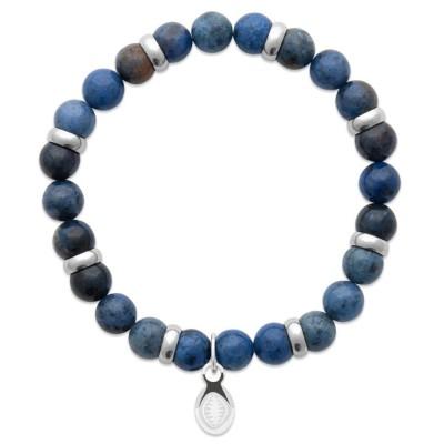 Bracelet en pierres naturelles Aventurine et acier pour homme, marque Shark'n Stones Bleu