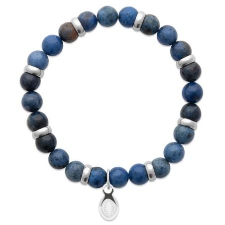 Bracelet pour homme Aventurine et acier - Shark'n Stones Bleu - Lyn&Or Bijoux