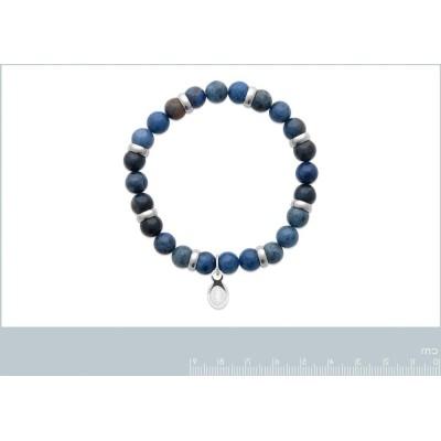 Bracelet en pierres naturelles pour homme Aventurine et acier, marque Shark'n Stones Bleu