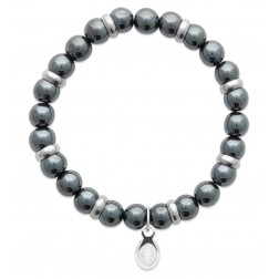 Bracelet en pierres naturelles Hématite et acier pour homme, marque Shark'n Stones Gris