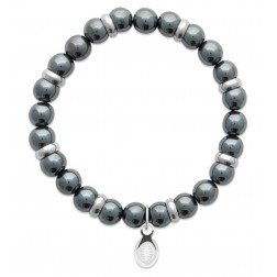 Bracelet pour homme Hématite et acier - Shark'n Stones Gris - Lyn&Or Bijoux