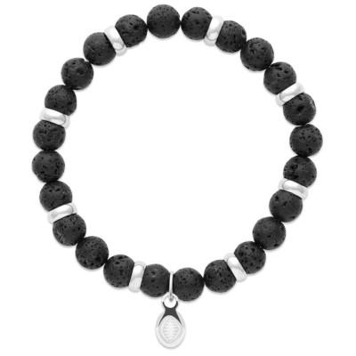 Bracelet en pierres naturelles Pierre de lave et acier pour homme, marque Shark'n Stones Noir