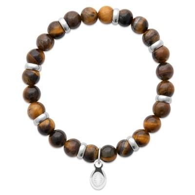 Bracelet en pierres naturelles oeil de Tigre et acier pour homme, marque Shark'n Stones Brun