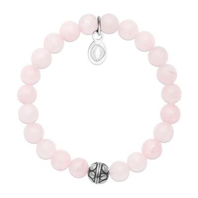 Bracelet en pierres naturelles pour femme Quartz et acier, marque Shark'n Stones Rose