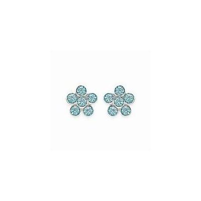 Boucles d'oreilles pour fille en argent 925 et cristal de swarovski bleu, Fleur
