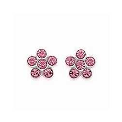 Boucles d'oreilles pour fille en argent 925 et cristal de swarovski rose, Fleur