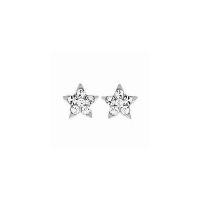 Boucles d'oreilles pour fille en argent 925 et cristal de swarovski blanc, Etoile