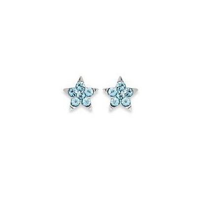 Boucles d'oreilles pour fille en argent 925 et cristal de swarovski bleu, Etoile