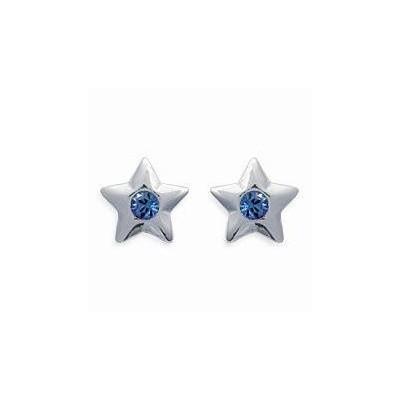 Boucles d'oreilles pour enfant en argent 925 et cristal de swarovski bleu, Etoile