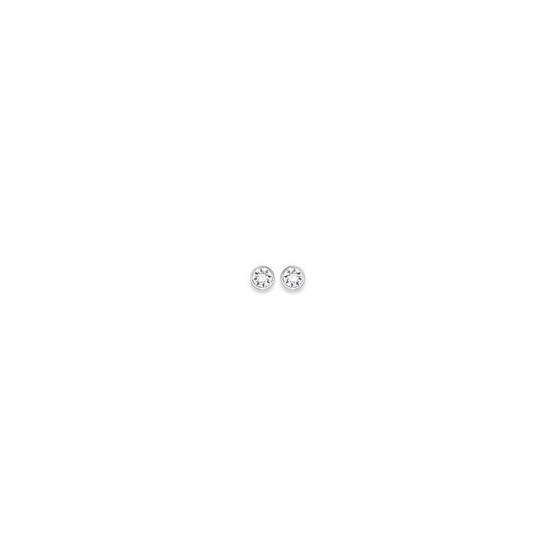 Boucles d'oreilles puces argent, cristal blanc microserti 3 mm - Lyn&Or Bijoux
