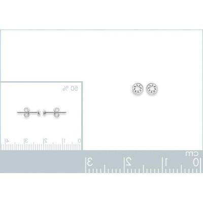 Boucles d'oreilles puces pour femme argent, cristal blanc microserti 3 mm