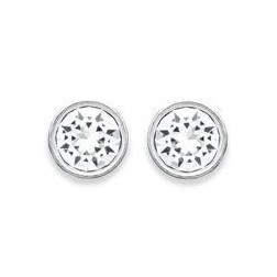 Boucles d'oreilles puces argent 925, cristal de Swarovski blanc microserti 6 mm