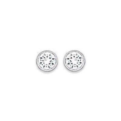 Boucles d'oreilles puces argent, cristal blanc microserti 6 mm - Lyn&Or Bijoux