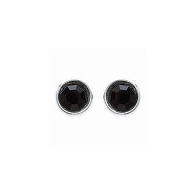 Boucles d'oreilles puces pour femme argent, cristal noir microserti 6 mm