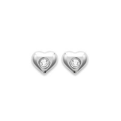 Boucles d'oreilles fille en argent et cristal de Swarovski blanc, Coeur