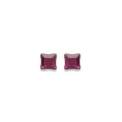 Boucles d'oreilles clous en argent et cristal de Swarovski carré rose