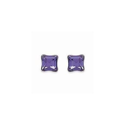 Boucles d'oreilles clous en argent et cristal de Swarovski carré violet