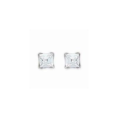 Boucles d'oreilles clous en argent et cristal de Swarovski carré blanc