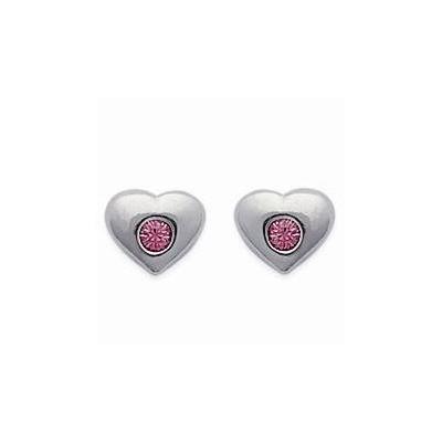 Boucles d'oreilles fille en argent et cristal de Swarovski rose, Coeur