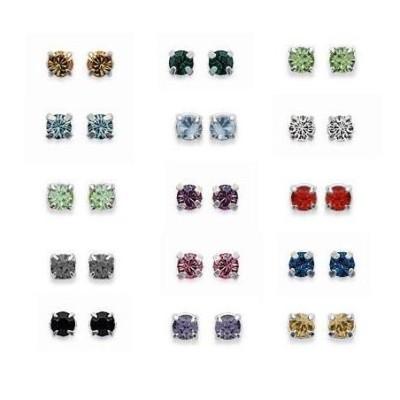 Boucles d'oreilles puces en argent et cristal de swarovski coloré 2 mm, Couleurs au choix