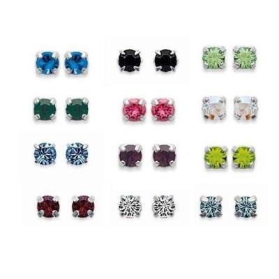 Boucles d'oreilles clous en argent et cristal multicolore 3 mm, Couleurs au choix