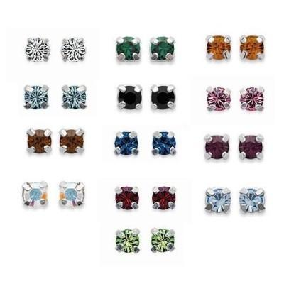 Boucles d'oreilles tiges en argent et cristal multicolore 4 mm, Couleurs au choix