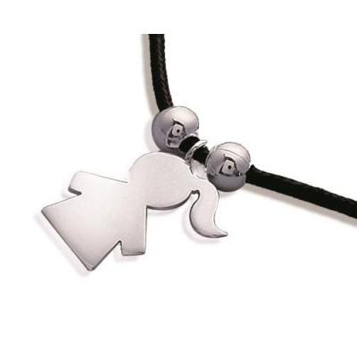 Bracelet cordon pour enfant en argent - Fillette